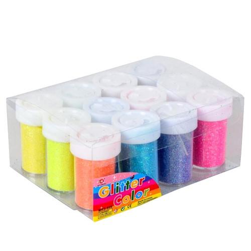 Глиттер декоративные блестки, неоновый 12x12г 12 цветов, для ногтей
