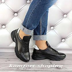 Женские кроссовки на шнуровке кожаные, черные   V 1285