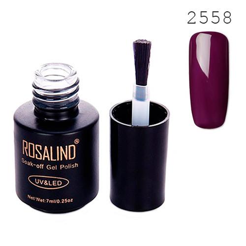 Гель-лак для ногтей маникюра 7мл Rosalind, шеллак, 2558 ежевика, темный