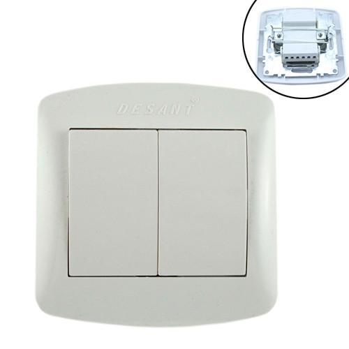Выключатель света двухклавишный 10А 220В, белый Desant D-302