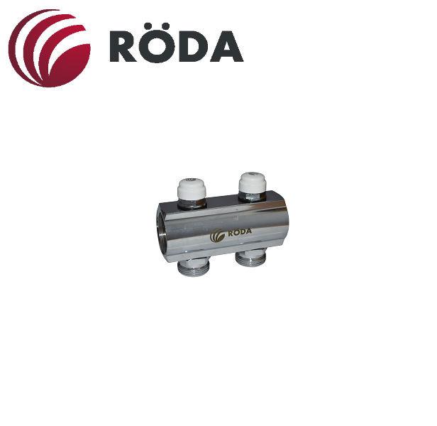 Коллектор распределительный Roda на 11 выходов с запорным клапаном (латунь)