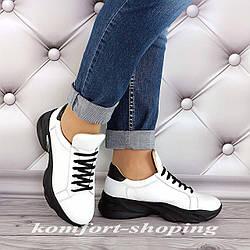 Женские кроссовки на шнуровке кожаные, белые   V 1285