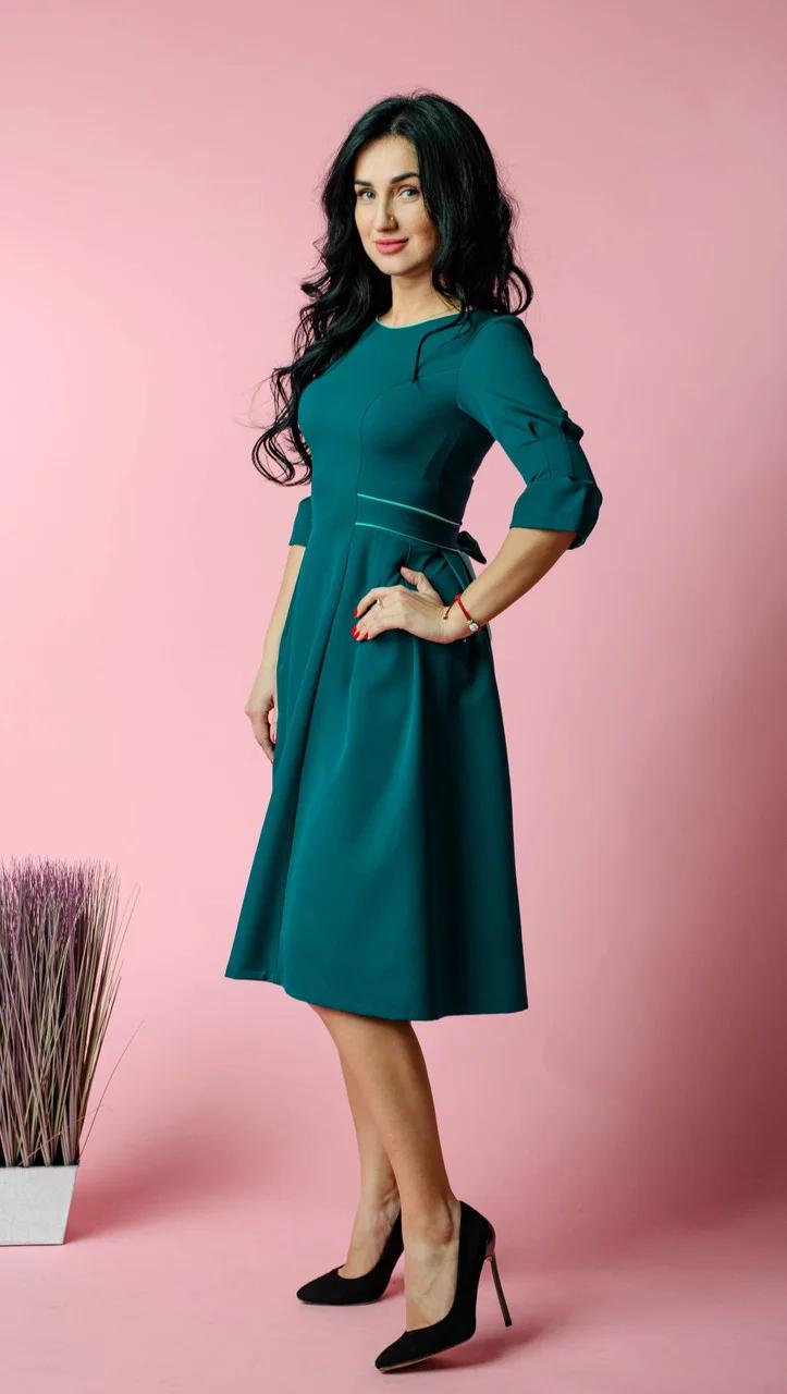 Стильное женское платье миди из турецкой крепкостюмки