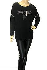 Жіноча трикотажна чорна кофта Fendi з стразами, фото 3