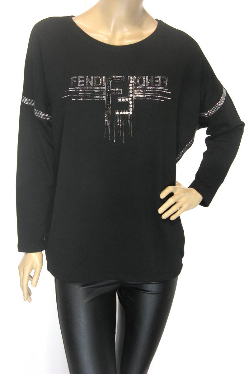 Жіноча трикотажна чорна кофта Fendi з стразами