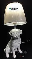 Декоративная настольная лампа мопс, фото 1