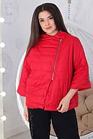 М524 Женская демисезонная куртка батал красный / красного цвета / красная