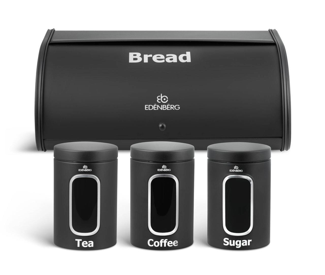 Хлебница + набор 3 баночек  Edenberg EB-097 (Черная)