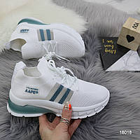 Женские легкие текстильные кроссовки кроссовки- носки белые, фото 1
