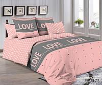 Двуспальный комплект постельного белья Розовый в горошек LOVE, Ранфорс
