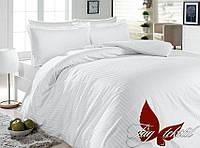 Двуспальный комплект постельного белья однотонны белый в полоску, Ранфорс