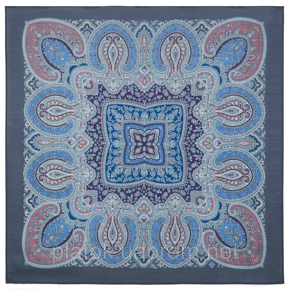 Восточная принцесса 1908-1, павлопосадский платок шерстяной  с оверлоком