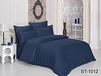 Двуспальный комплект постельного белья однотонны синий в полоску, Страйп-Сатин