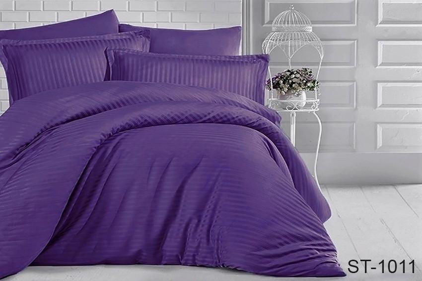 Двуспальный комплект постельного белья однотонны фиолетовый в полоску, Страйп-Сатин