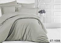 Двуспальный комплект постельного белья однотонны серыйв полоску, Страйп-Сатин