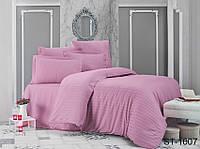 Двуспальный комплект постельного белья однотонны розовый в полоску, Страйп-Сатин