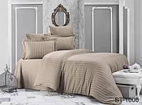 Двуспальный комплект постельного белья однотонны коричневый в полоску, Страйп-Сатин