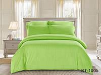 Двуспальный комплект постельного белья однотонны салатовый в полоску, Страйп-Сатин