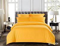 Двуспальный комплект постельного белья однотонны оранжевый в полоску, Страйп-Сатин