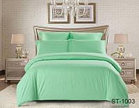 Двуспальный комплект постельного белья однотонны зеленый в полоску, Страйп-Сатин