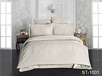 Двуспальный комплект постельного белья однотонны в полоску, Страйп-Сатин