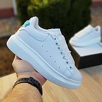 Женские кроссовки в стиле Adidas Alexander Mqueen белые с бирюзой