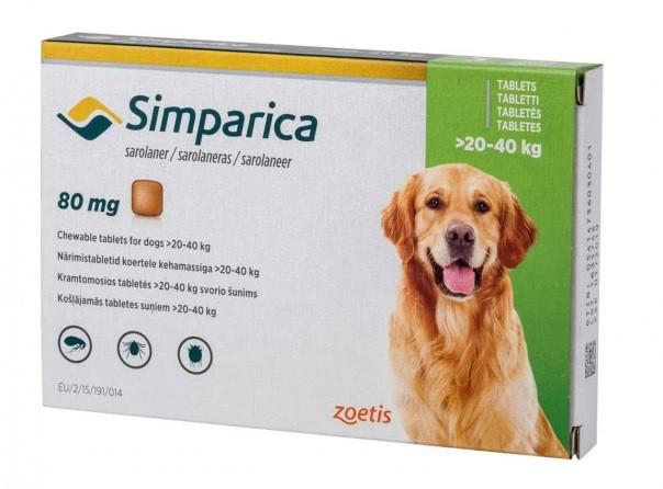 Таблетка от блох и клещей Симпарика Simparica для собак 20-40 кг 1 табл.