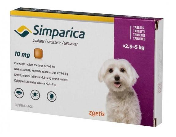 Таблетка от блох и клещей Симпарика Simparica для собак 2,5-5 кг 1 табл.