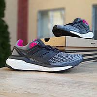 Женские кроссовки в стиле Adidas Energy BOOST серые с сиреневым