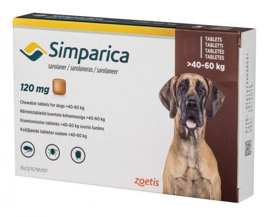 Таблетка від бліх і кліщів Симпарика Simparica для собак 40-60 кг 1 табл.
