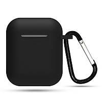 Силиконовый чехол для наушников на Apple AirPods 1-2 + карабин