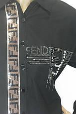 Жіноча сорочка-туніка з стразами Fendi, фото 3