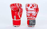 Перчатки для бокса и единоборств на липучке Everlast SKULL 5493 красный-белый 10 унций