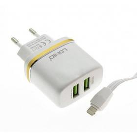 Зарядний пристрій LDNIO DL-AC52 2.4 A 2 Usb + кабель iPhone White