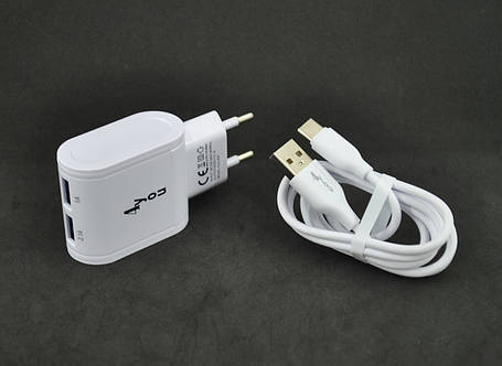 CЗУ 4you A22 (2100mAh - 100%, 2 USB, Led, Exclusive design) white + Type C, фото 2
