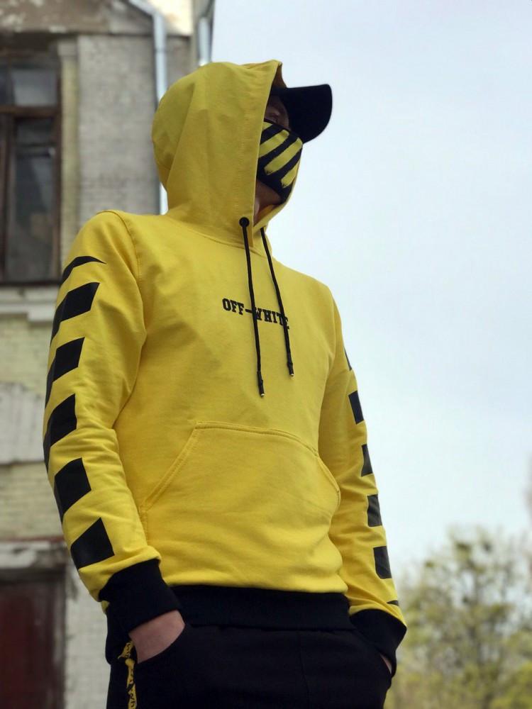 Худи унисекс в стиле Off White Cross желтое