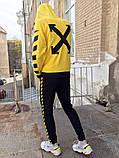 Худи унисекс в стиле Off White Cross желтое, фото 2