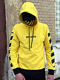 Худи унисекс в стиле Off White Cross желтое, фото 4