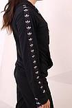 Худи чёрный с чёрно-белыми лампасами Adidas, фото 5