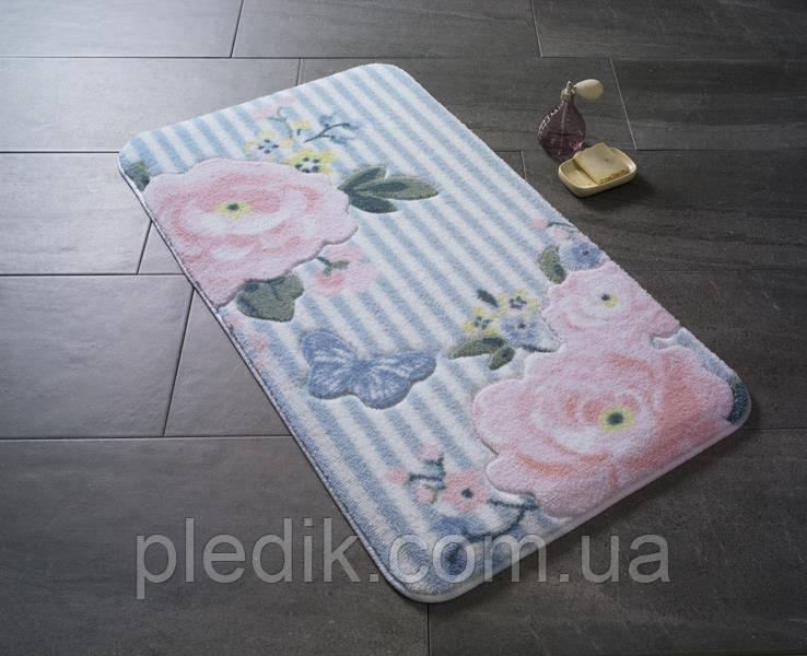 Коврик для ванной 80х140 Confetti голубой с розами Roses Pink