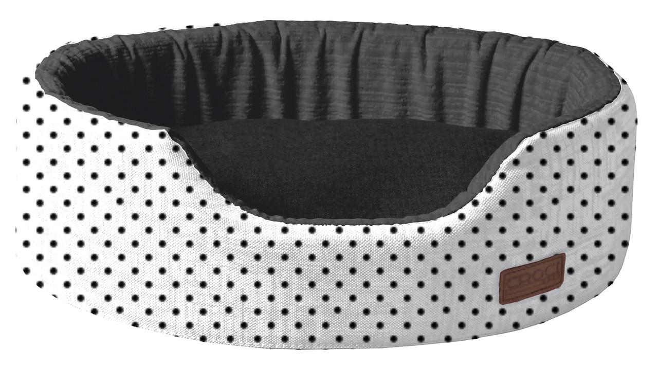 Лежак для животного COZY IMPACT, овальный, черно-белый в горох, 58x40x15см