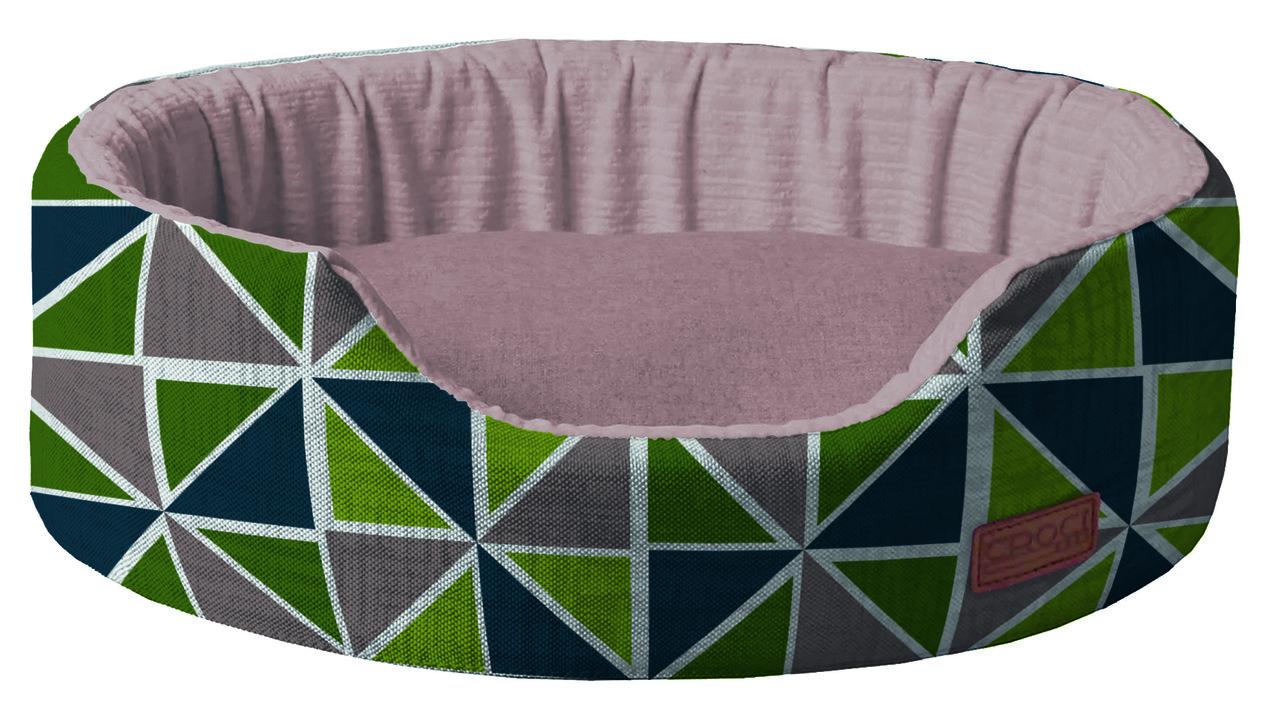 Лежак для животного COZY RAY, овальный, серый/зелено-синий, 50x35x14см