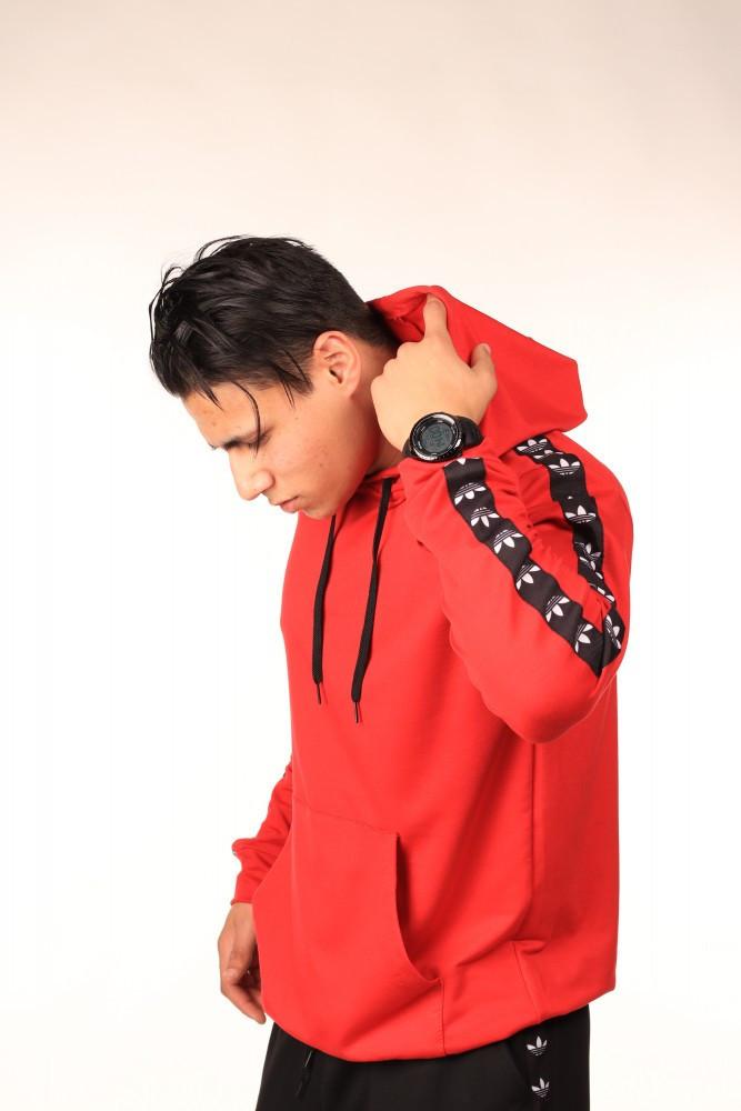 Худі червоне з чорно-білими лампасами Adidas
