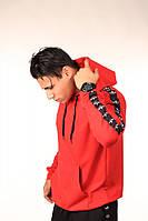 Худи красное с чёрно-белыми лампасами Adidas, фото 1