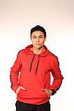 Худі червоне з чорно-білими лампасами Adidas, фото 2