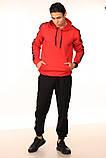 Худі червоне з чорно-білими лампасами Adidas, фото 3