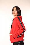 Худі червоне з чорно-білими лампасами Adidas, фото 4