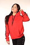 Худі червоне з чорно-білими лампасами Adidas, фото 5