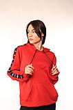Худі червоне з чорно-білими лампасами Adidas, фото 6