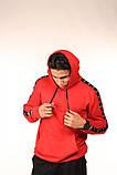 Худі червоне з чорно-білими лампасами Adidas, фото 7